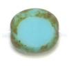 Glass Cut Bead Flat Oval10/9mm Strung- Opaque Blue